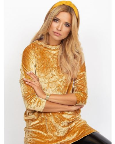 Tunika welurowa - żółta Fashionhunters