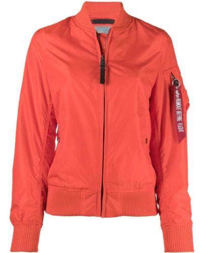 Бейсбольная красная длинная куртка с воротником Alpha Industries