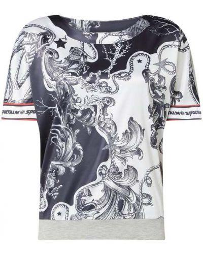 Bluzka z nadrukiem z printem - biała Sportalm