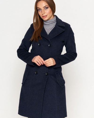 Синее пальто с капюшоном Sellin