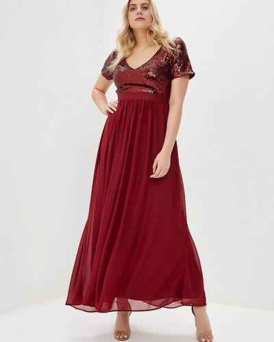 Коктейльное платье весеннее красный Goddiva Size Plus