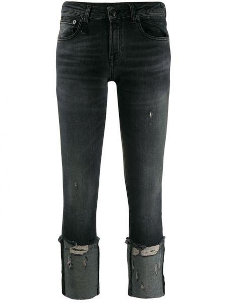 Укороченные джинсы скинни с эффектом потертости R13