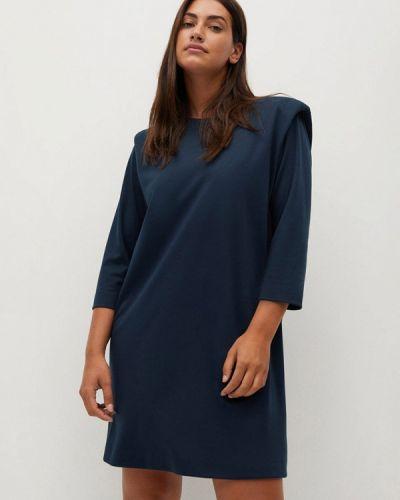 Прямое бирюзовое платье Violeta By Mango
