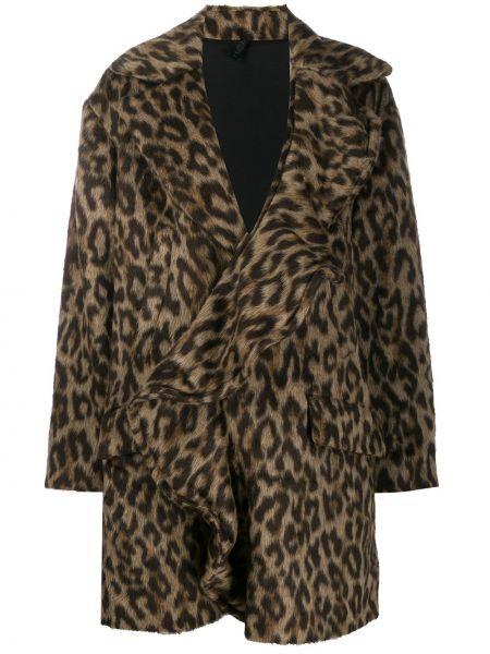 Коричневое шерстяное длинное пальто Unravel Project