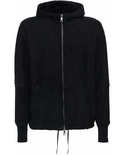 Czarny płaszcz skórzany oversize Giorgio Brato