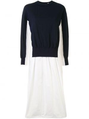 Sukienka rozkloszowana z długimi rękawami - biała Enfold
