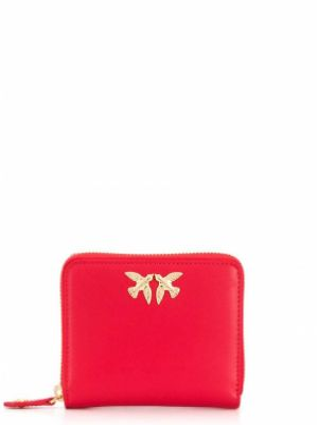 Кожаный кошелек круглый с логотипом Pinko