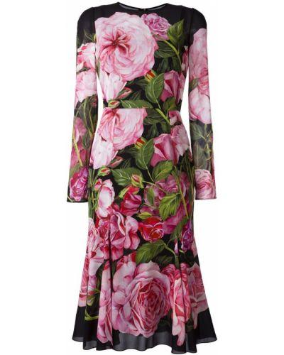 Платье макси с длинными рукавами приталенное с баской Dolce & Gabbana