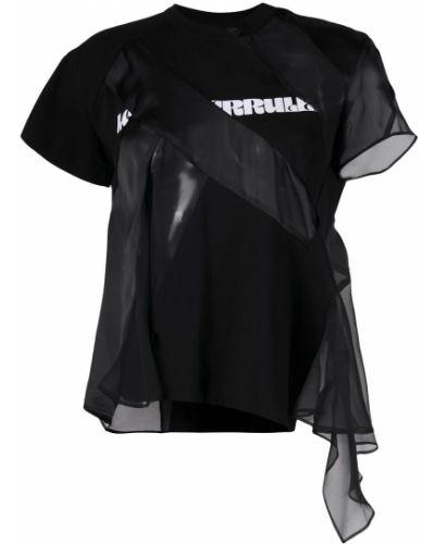 Хлопковая с рукавами черная футболка Sacai