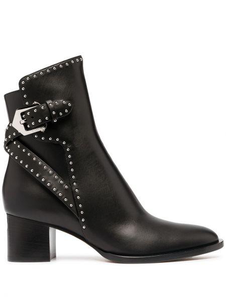 Skórzany czarny buty obcasy z klamrą na pięcie Givenchy