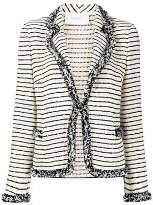 Белый удлиненный пиджак в полоску с бахромой Giambattista Valli