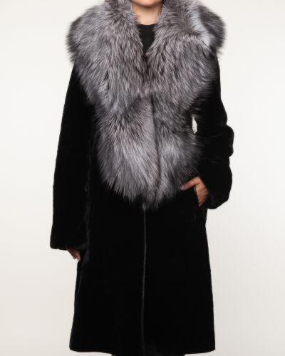 Черное пальто с воротником из овчины Aliance Fur