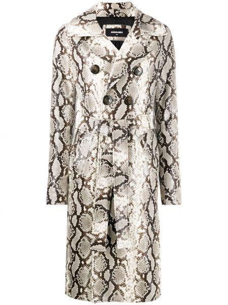 Кожаный длинное пальто с карманами с лацканами Dsquared2