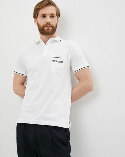 Белое поло с короткими рукавами Roberto Cavalli