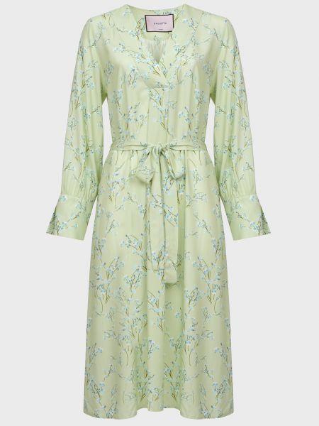 Платье с поясом - зеленое Bagutta