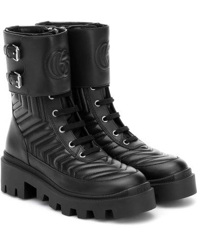 Skórzany pikowana czarny buty skórzane Gucci