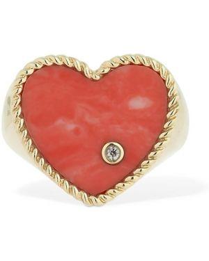 Czerwony złoty pierścionek z diamentem Yvonne Leon Paris