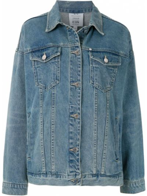 Синяя джинсовая куртка с воротником с надписью Armani Exchange
