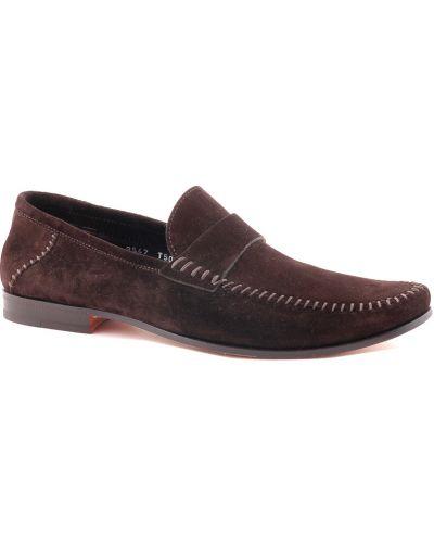 Кожаные туфли - коричневые Santoni