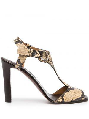Brązowe sandały skórzane na obcasie Ralph Lauren Collection