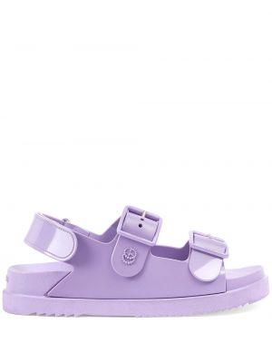 Fioletowe sandały peep toe z klamrą Gucci