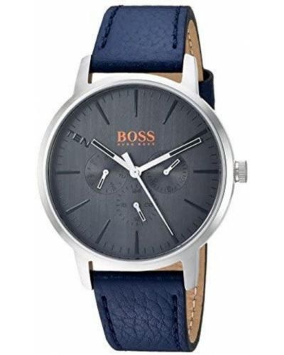 Szary zegarek na skórzanym pasku skórzany kwarc Hugo Boss