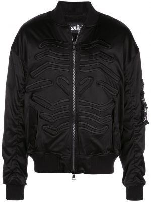 Czarna długa kurtka z haftem z nylonu Haculla