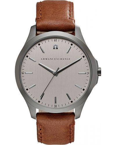 Часы водонепроницаемые с кожаным ремешком с бриллиантом Armani Exchange
