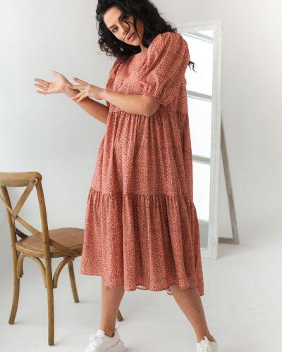 Оранжевое платье трапеция с вырезом Clew