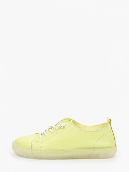Желтые кроссовки из натуральной кожи O-live Naturalle