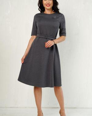 Платье с поясом серое платье-сарафан Taiga