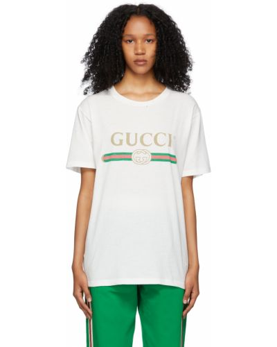 T-shirt bawełniana - biała Gucci
