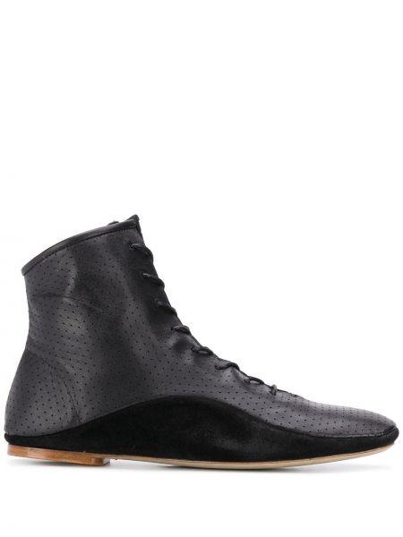 Черные сапоги на шпильке на шнуровке с перфорацией Paul Smith