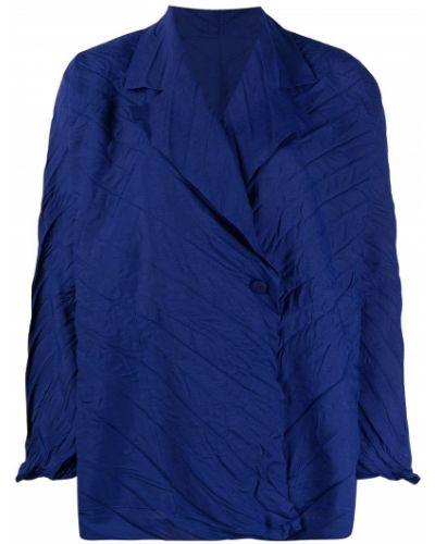 Синий удлиненный пиджак двубортный на пуговицах Issey Miyake