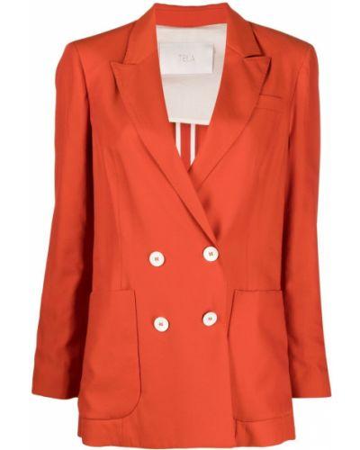 Оранжевый классический пиджак двубортный на пуговицах Tela