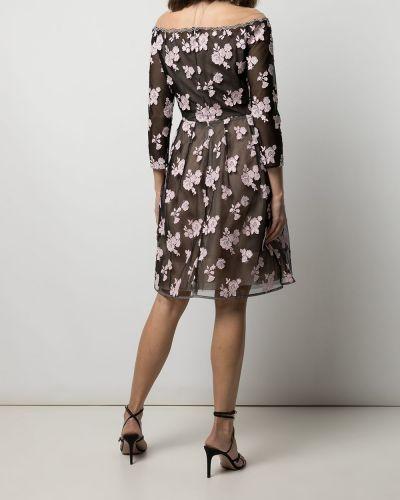 Платье с открытыми плечами - черное Oscar De La Renta