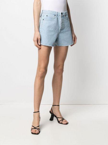 С завышенной талией хлопковые синие джинсовые шорты 3x1