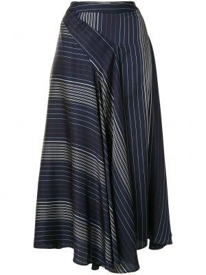 Синяя с завышенной талией асимметричная юбка миди на молнии Palmer / Harding