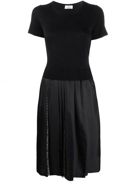 Шелковое с рукавами черное платье мини Salvatore Ferragamo