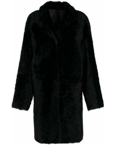 Черное длинное пальто Yves Salomon