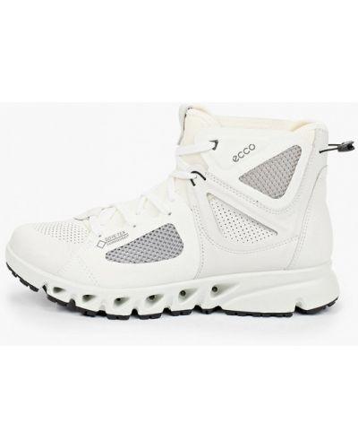 Кожаные белые высокие кроссовки Ecco