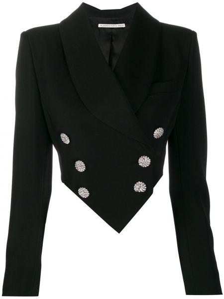 Черный пиджак двубортный с карманами Alessandra Rich