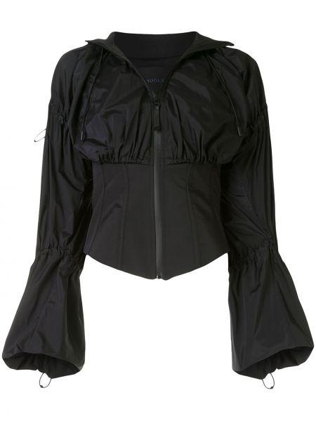 Шелковый черный пиджак с воротником Mugler