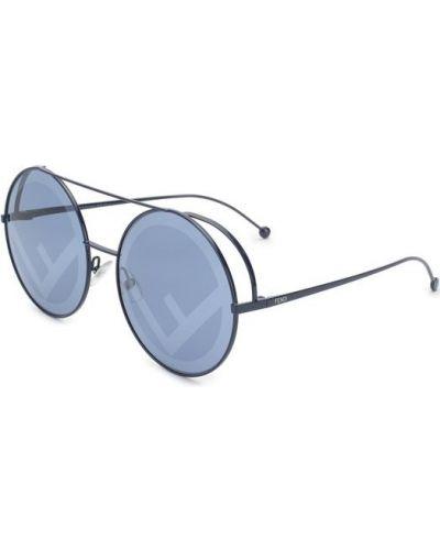 Солнцезащитные очки металлические круглые Fendi