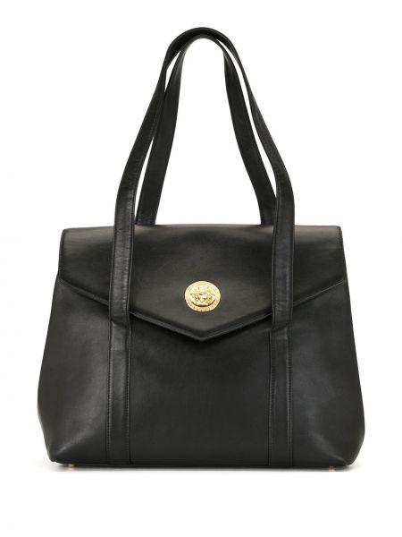 Золотистая черная сумка-тоут на молнии с карманами Versace Pre-owned