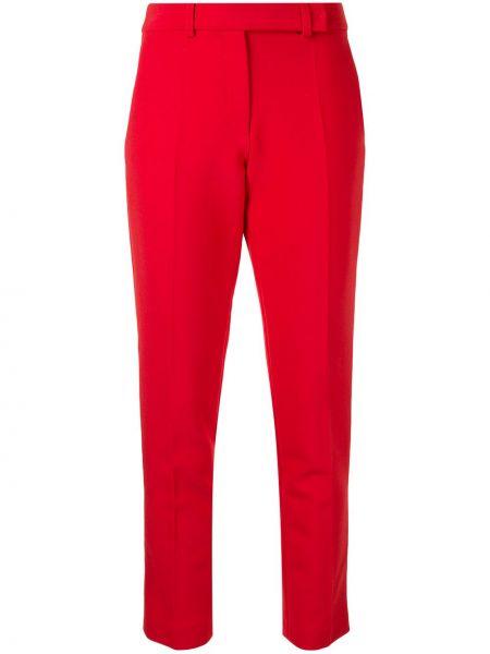 Шерстяные красные прямые укороченные брюки с высокой посадкой Paule Ka
