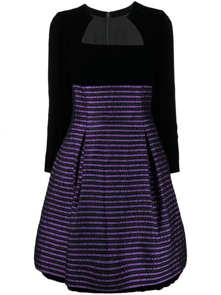 Czarna sukienka długa rozkloszowana w paski Christian Dior