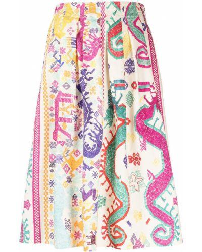 С завышенной талией плиссированная юбка миди на молнии Etro