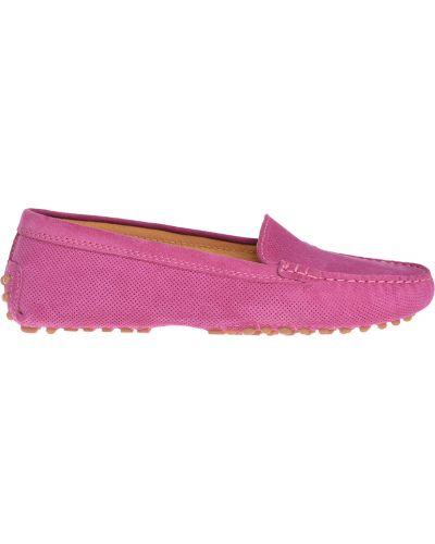 Розовые кожаные мокасины Gianros