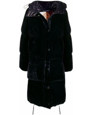 Синее пуховое длинное пальто с капюшоном Hilfiger Collection